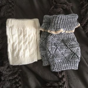 Set of 2 knitted boot sock toppers